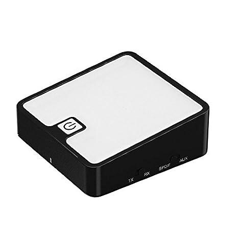 SODIAL Bluetooth inalambrico Audio transmisor Receptor Toslink/SPDIF/3.5mm Salida optica (Blanco