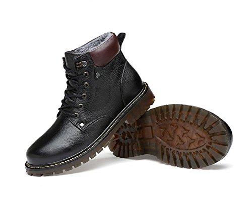 neige grande similicuir de chaude chaussures en Bottes de peluche coton d'outillage black d'hiver hommes de des 46 en taille wIqxZC