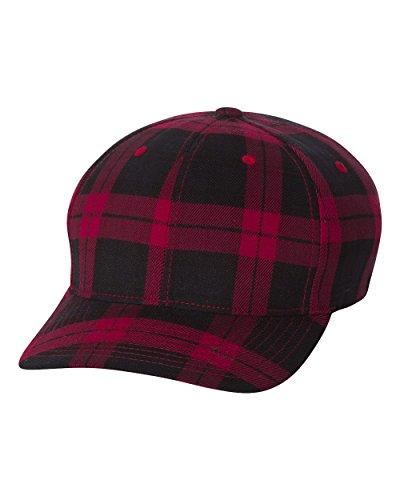 - Flexfit Mens Tartan Plaid Elastic Stretch Fit Baseball Hat, Large/Xlarge, Black/Red