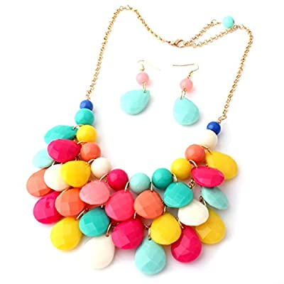 Amtonseeshop Newly Fashion Water Drop Style Earrings Chunky Multilayer Necklace for Women (Colorful)