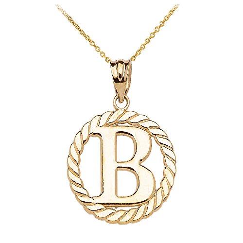 """Collier Femme Pendentif 10 Ct Or Jaune """"B"""" Initiale À Corde Cercle (Livré avec une 45cm Chaîne)"""