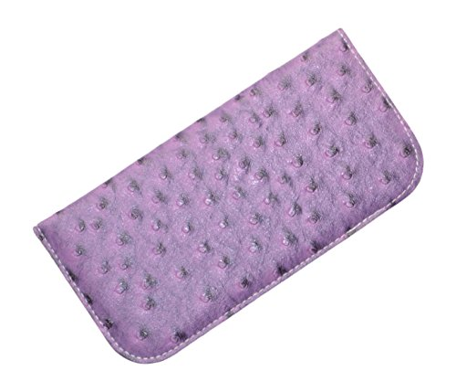 Soft Slip In Eyeglass Case For Women Men With Faux Ostrich Leather In Purple (Purple Ostrich Leather)