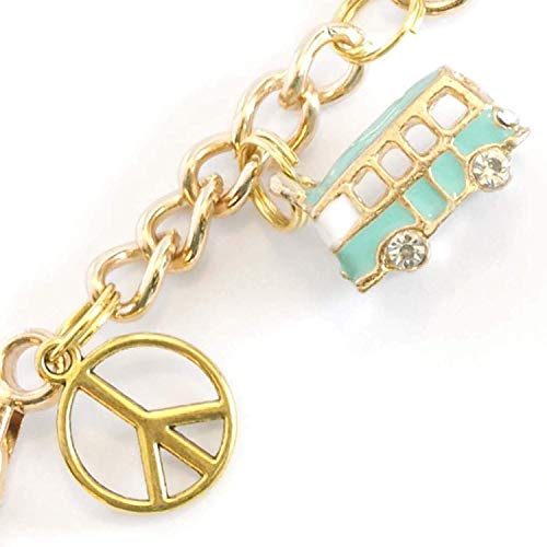 Camper Van Keychain - Turquoise Camping Caravan and Gold Peace Sign Charms - Swivel Keyring & Clip