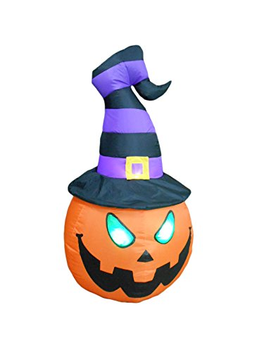 BZB Goods 4 Foot Tall Illuminated Halloween Inflatable Lantern with Grim Reaper and Jack-O-Lanterns -