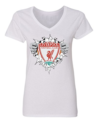 SMARTZONE Liverpool Football Club Super Hero Logo Soccer Football Futbol Women's V-Neck T Shirt (White,L)