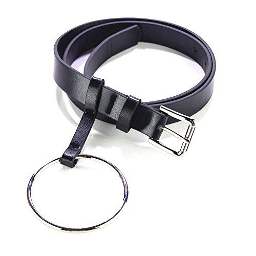 Women's Fashion Large Ring Belt Black Skinny Waist Leather Belt For Jeans Dress (Ring-10cm, Ring-Sliver)