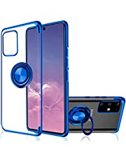 Galaxy S10 Lite / A91 Case for SAMSUNG, [with 360° Ring Stand ] Crystal Clear [Electroplated Metal Colour] Silicone Soft TPU [Shockproof Protection] Cover (S10 Lite, Blue)
