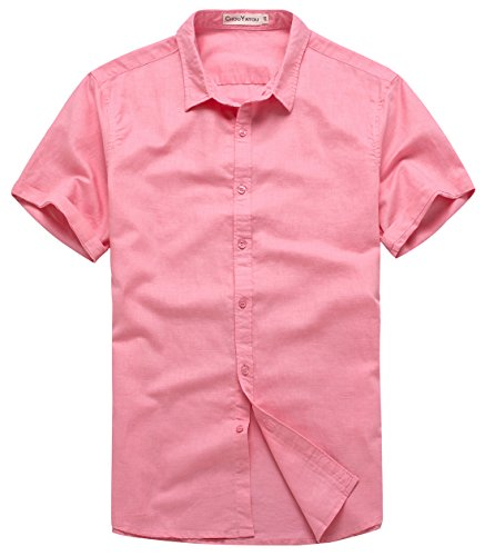 chouyatou Men's Summer Basic Collar Short-Sleeved Linen Shirts (Medium, Pink)