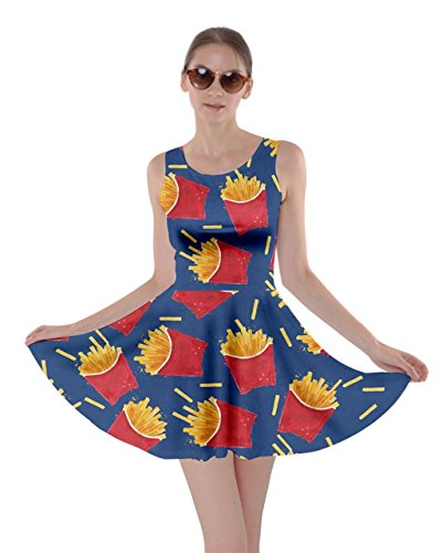 (CowCow Womens French Fries Navy Skater Dress, Navy -)