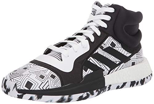 adidas Men's Marquee Boost Low Basketball Shoe, White/Black, 9 M US