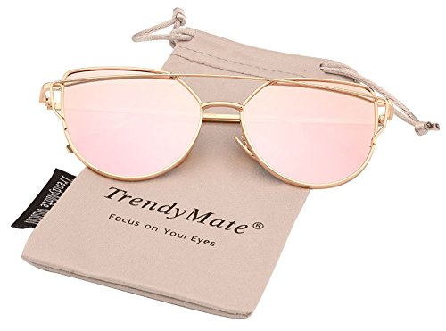 TrendyMate-Womens Street Fashion Metal Twin Beam Flat Mirror Lens Cat Eye Sunglasses (Gold / Rose Pink, - Eye Cat Sunglasses Gold