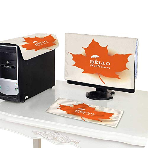 (Miki Da CPU Cover Computer dust 19'' Monitor Set Autumn Greeting Card of Orange Maple Leaf and Logo with Umbrella in Center with Soft Shadow Vector)
