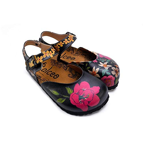 Pink, White, Orange Flowers Blue, Green Leaf Patterned Clogs - CAL1609