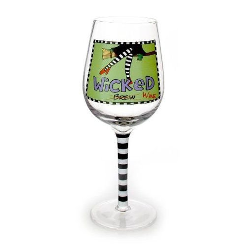 Enesco Halloween Our Name is Mud by Lorrie Veasey Wicked Wine Glass, 3.25-Inch -