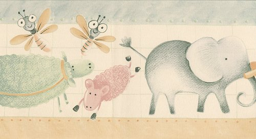 Pastel Nursery Animals Children's Wallpaper Border - Zebra Elephants Sheep...