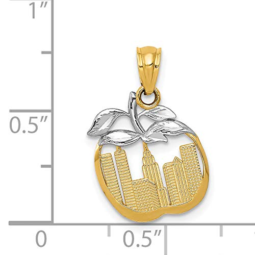 14k /& Rhodium Cut-out New York Skyline in Apple Pendant