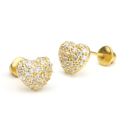 14k Gold Plated Brass Domed Heart Cubic Zirconia Screwback Girls Earrings with Sterling Silver Post