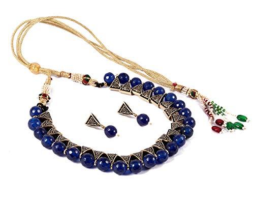 SIMAYA FASHIONISTA Blue Onyx Beads Necklace Set for Women