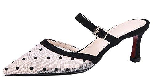 Pointue Talon Femme Moyen Mesh Fashion Blanc Chaussure Easemax Mules qOACxZwI