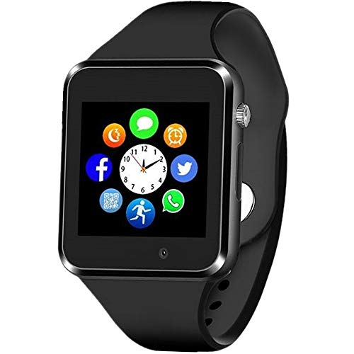 Sazooy Smart Watch Bluetooth Touchscreen Smart Wrist Watch Smartwatch Phone Fitness Tracker with SIM SD Card Slot Camera Pedometer Compatible iOS iPhone Android Samsung for Women Kids Men (Black) (Bluetooth Wrist Pedometer)
