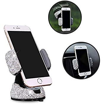 Siyibb Crystal Universal Car Phone Holder Gravity Car Air Vent Mobile Phone Mount White