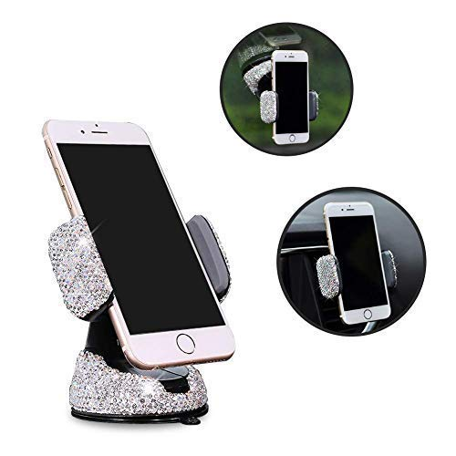 - eing Bling Crystal Car Phone Mount with One More Air Vent Base,Universal Cell Phone Holder for Dashboard,Windshield and Air Vent,Silver