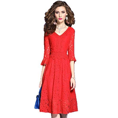 Vestiti Delle Donne Pizzo Una Manicotto Linea Chiarore Cotyledon Cavo Rosso Vestito Di `s Axf1twH
