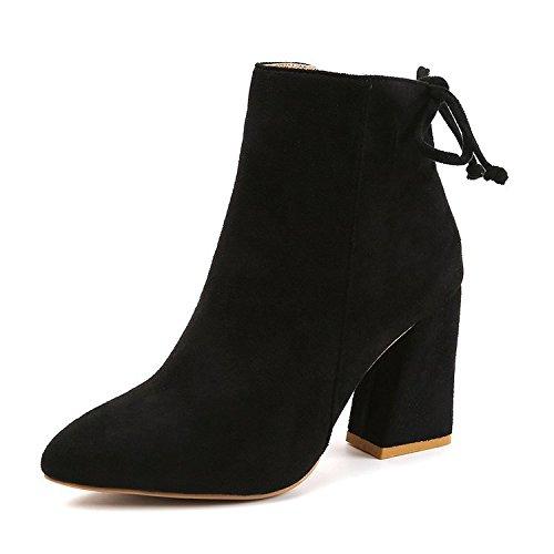 de botas satén la de el tacón botas hembra y 36 áspera con Martin tacón versátil de negro pajarita de cabeza corto alto pequeña de Las de redonda lado mujeres botas xHTEwPyv