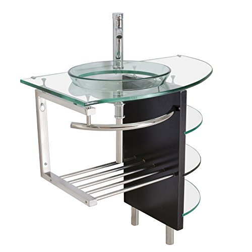36 Inch Vessel Sink In Clear Glass With Stand And Faucet