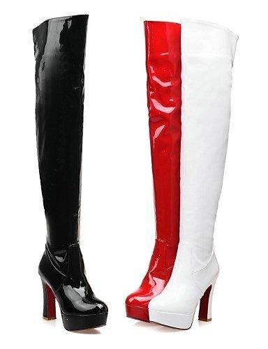 Cuero Casual Botas Plataforma 4 5 La Vestido 5 7 5 Zapatos Negro Eu34 A Patentado Eu37 Black Blanco Tacón Robusto White us6 De Cn33 Rojo 2 Mujer us4 Cn37 5 5 Xzz Moda Uk2 Uk4 xwS7qXYHPw