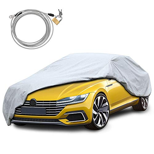 - KAKIT Car Cover Waterproof All Weather, 2 Layers UV Protection Universal Sedan Car Covers with Free Windproof Ribbon & Anti-Theft Lock for Full Size Sedan Cars Automobiles Fits 186