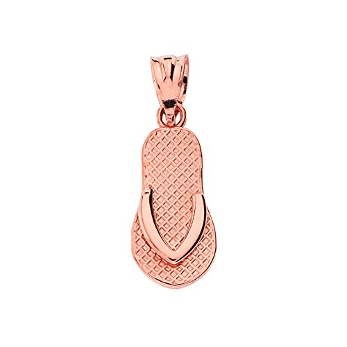 Elegant 10k Rose Gold Flip Flop Charm Pendant