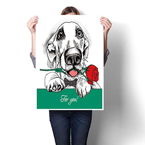 1 Piece Wall Art Painting Card of Valentine s Day Dog Portrait in tie with red Rose Vector Oil Painting,12