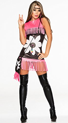 Flower Power Costume in Black/Pink Fringe,