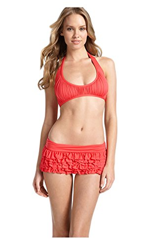 Juicy Couture Miss Softee Ruffle Bikini Swimsuit Spiked Coral Small
