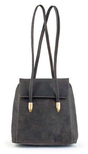 (Visconti 18001 Womens Oil Brown Distressed Leather Backpack Bag / Handbag / Shoulder Bag)