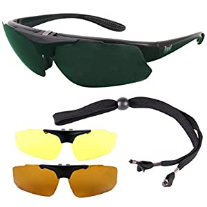 Rapid Eyewear Black Rx GOLF SUNGLASSES Frame for Prescription Spectacle Wearers, Interchangeable Polarized Lenses. Suitable for Distance, Bifocal & Varifocal Glazing. Glasses For Men & Women
