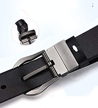 H-M-STUDIO MenS Belts Fashion Simple Double Sided Rotary Buckle Casual Business Black Leather MenS Belts.