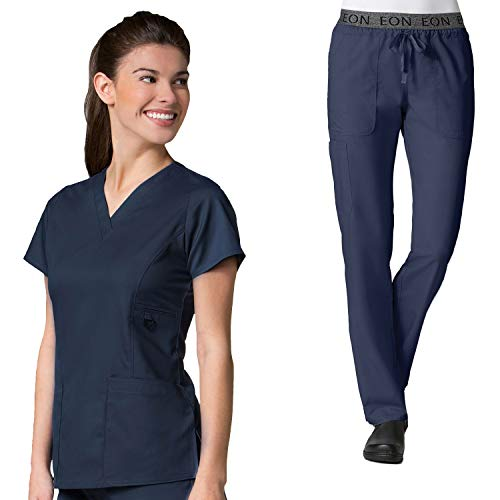 Maevn Eon Women's Active V-Neck Pocket Scrub Top & Embroidered Logo Scrub Pant Set