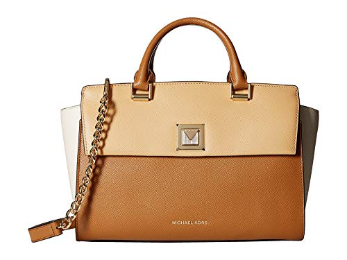 MICHAEL Michael Kors Sylvia Large Tri-Color Crossgrain Leather Satchel Bag, Butternut Cream ()