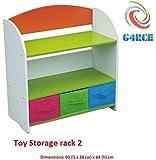 G4RCE® CHILDRENS/KIDS 3 TIER TOY/BEDROOM STORAGE SHELF UNIT RACK 3 CANVAS BOXES/DRAWERS UK (Toy Storage rack 2)