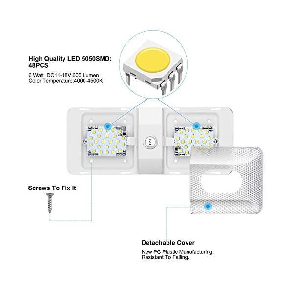 41Efnnw4R6L Kriogor LED Innenbeleuchtung Auto, 12V KFZ Deckenleuchten 48LED 600LM RV Lamp Beleuchtung mit ON/OFF Schalter, Universal…