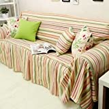 Swanlake Shabby and Victorian Style Stripes Cotton Loveseats Throw Sofa Cover 0007B (Love Seats)