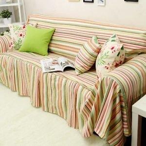 Swanlake Shabby and Victorian Style Stripes Cotton Loveseats Throw Sofa Cover 0007B (Three Seats ) ()