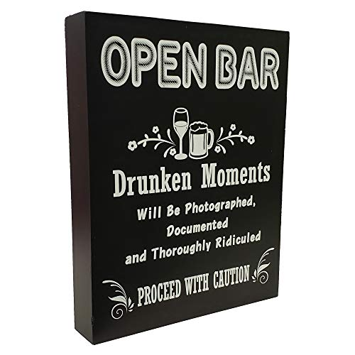 JennyGems - Open Bar - Drunken Moments Will Be Photographed Documented and Thoroughly Ridiculed Proceed with Caution - Wedding Ceremony and Reception Stand Up Sign - Birthday Anniversary Party,]()