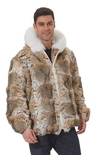 Madison Avenue Mall Real Lynx Fur Jacket Men Hooded White Fox Trim - Cat Lynx - Madison Mall