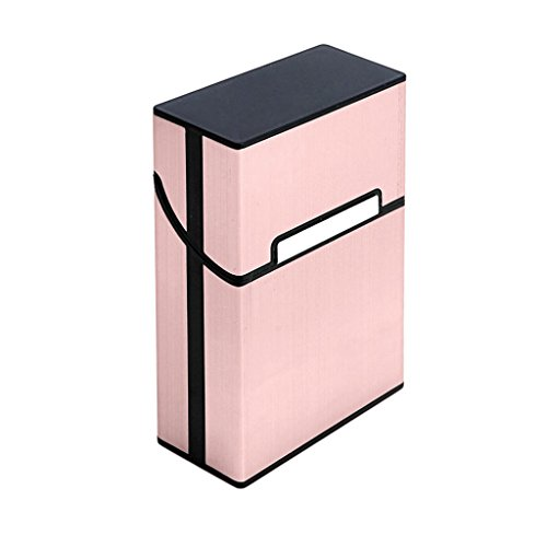BCHZ Metal Cigarette Box Aluminum Holder Pocket Tobacco Cigar Storage Case Black (Pink)