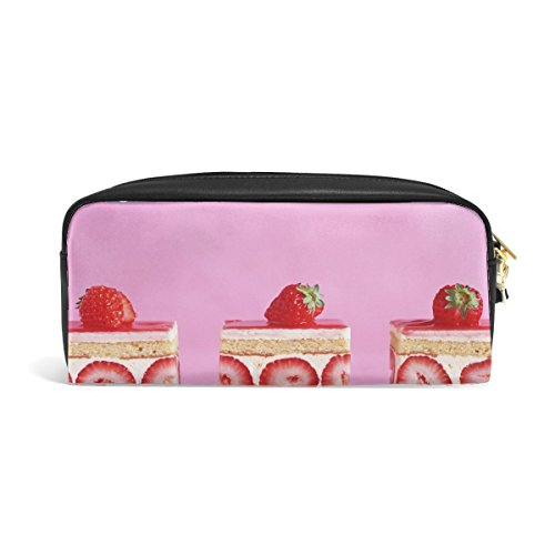 Pie Biscuit Cream Strawberry Stuffing Print Pu Leather Pen Pencil Case Pouch Case Makeup Cosmetic Travel School Bag