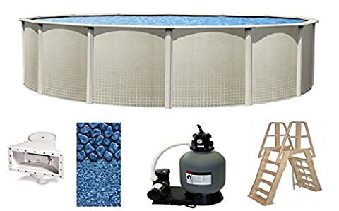 Wilbar Impressions 24 Foot x 48 Inch Round Above-Ground Complete Swimming Pool Kit-Bundle Includes Liner Skimmer Ladder Pump and - Heritage Pools Round Pool Cover