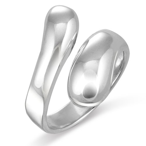 Sterling Silver Contemporary Design Elongated Teardrop Spoon Ring - Size (Elongated Teardrop Ring)